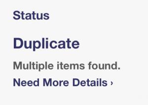 duplicate error